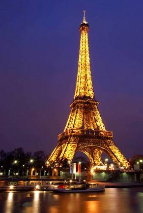 Фотообои Париж на сереневом небе