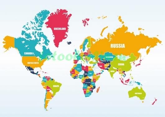 Карта мира яркая