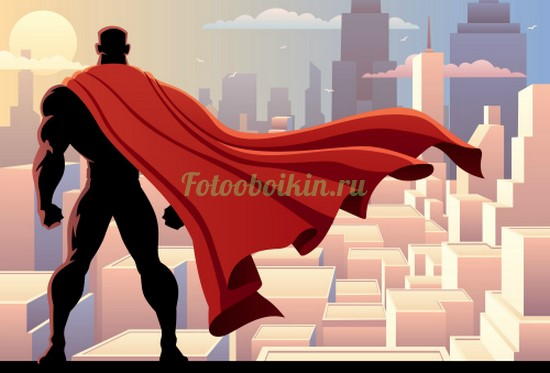 Супергерой на фоне небоскребов
