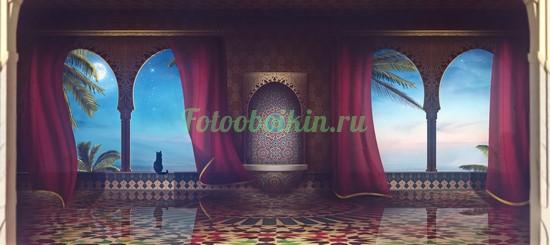 Восточный дворец ночью
