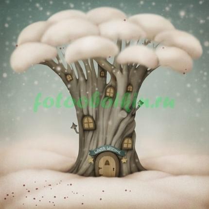 Дерево в снежной шубе