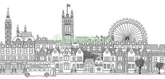 Фотообои Лондон на белом фоне