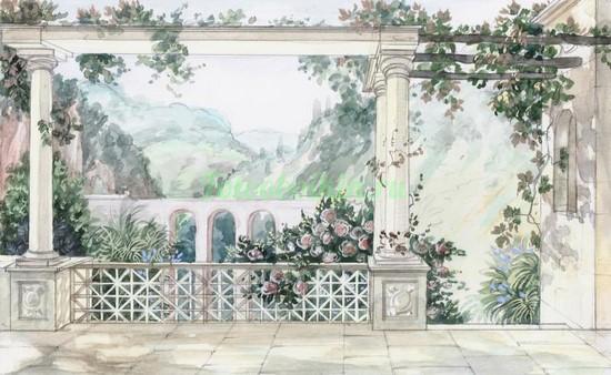 Пейзаж с белыми колоннами