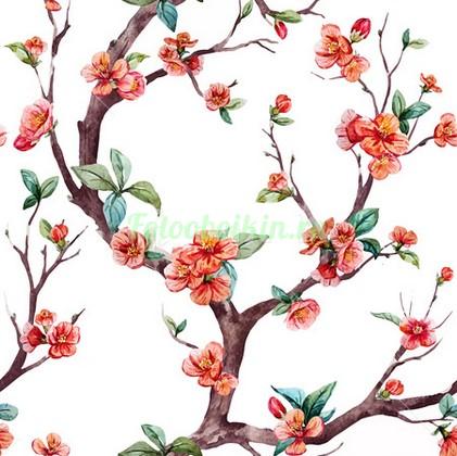 Извилистая ветка с цветами