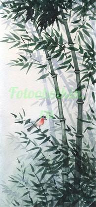 Бамбук с красной птичкой