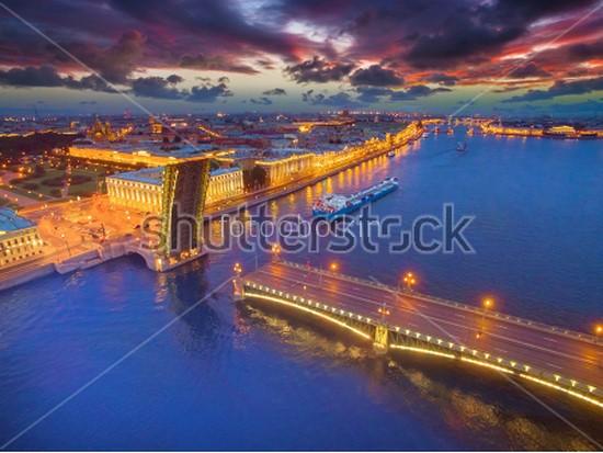 Разведенный Большеохтинский мост