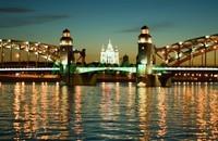 Большеохтинский мост вечером