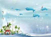 Стая китов в море