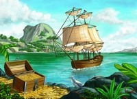 Фрегат у острова с кладом