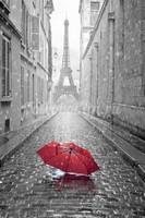 Красный зонтик в Париже