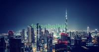 Дубаи ночной с небоскребами