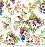 Узор цветы и птицы