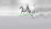 Белые коне на сером фоне