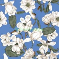 Белые цветы на синем фоне