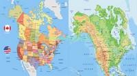 Карты США и Канады в штатах цветная