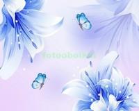 3D синие цветы
