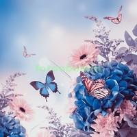 3D цветы с бабочкой