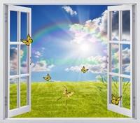 Окно с видом на поле с бабочками