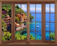 Окно с видом на виллу у моря