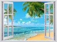 Окно с видом на пальмы и пляж