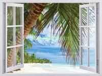 Окно с видом на пляж с пальмой