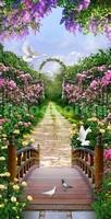Мостик в сад с цветами