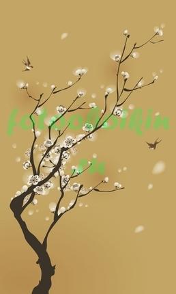 Птицы  около ветки сакуры