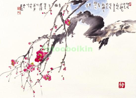 Ветка сакуры с иероглифами