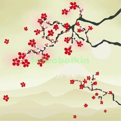 Ветка сакуры на фоне горы