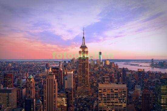 Нежный закат в Нью-Йорке осенью