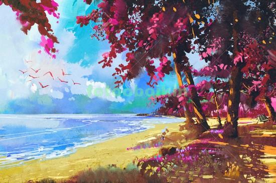Розовые деревья на берегу моря