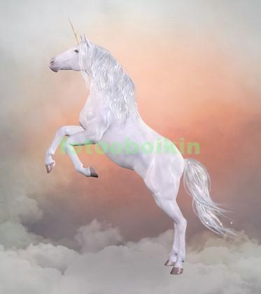Белый единорог в облаках
