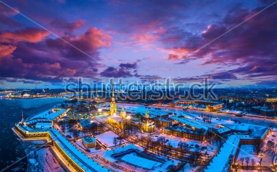 Вид сверху на Петропавловскую крепость