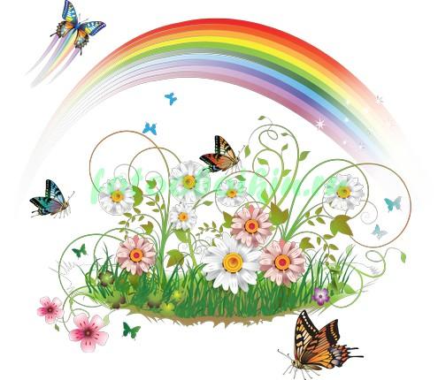 Радуга над цветами