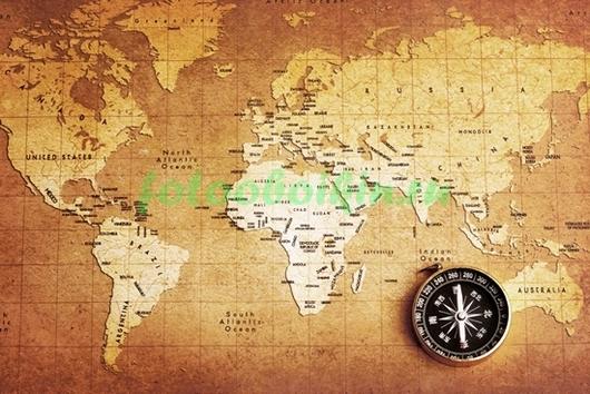Карта с компасом