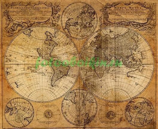Фотообои Карта 19 века