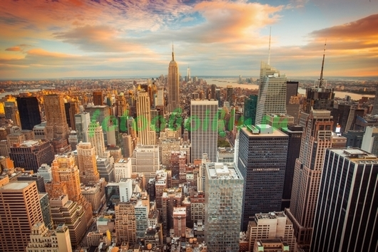 Нью-Йорк небоскребы на закате