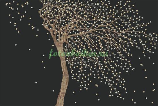 Дерево на ветру черный фон