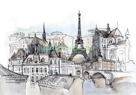 Рисунок Парижа акварелью