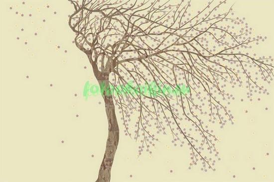 Ветвистое дерево на бежевом фоне