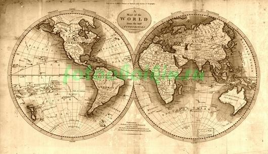 Фотообои Карта с полушариями
