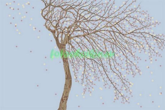 Фотообои Ветвистое дерево на голубом фоне