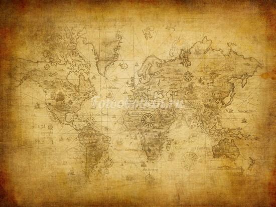 Фотообои Карта мира на страрой бумаге
