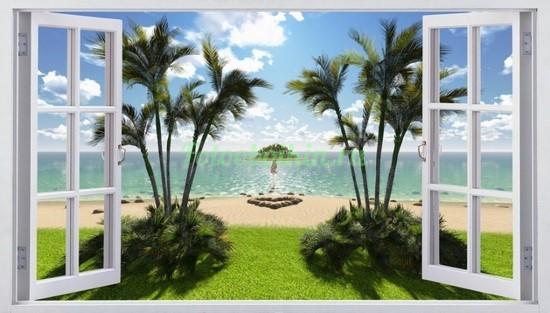 Окно с видом на пляж и пальмы