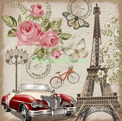 Фотообои Эйфелева башня и ретро автомобиль
