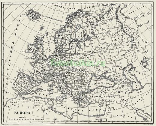 Фотообои Старая карта Европы