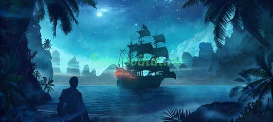 Фотообои Пиратский корабль в бухте