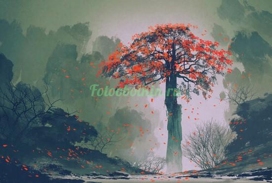 Старое дерево с красными листьями