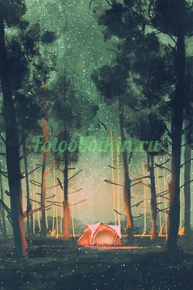 Палатка в лесу над звездным небом