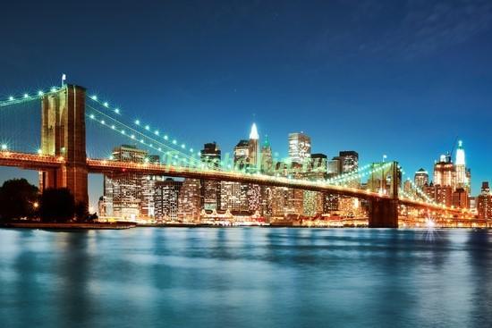 Фотообои Мост на фоне ночного города